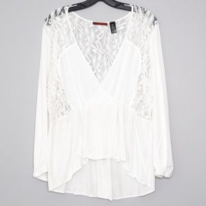 BKE White Lace High Low Blouse Womens XL D2